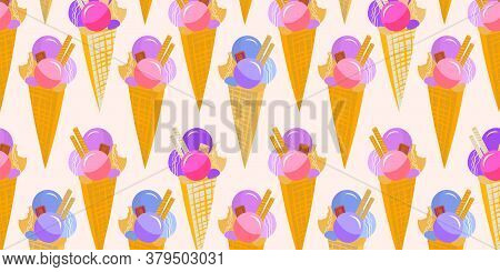 Sweet Ice Cream Texture Background Pattern Wallpaper. Vector Image With Sweet Ice Cream Cones With B