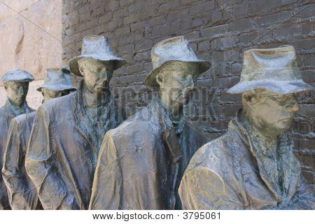 Bronze Statue Of Depression Line