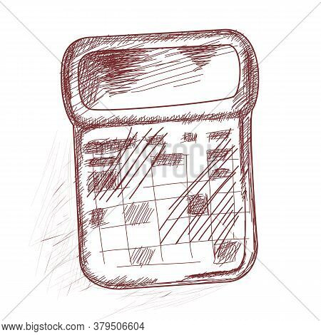 Calculator. Design Element For School Products.vector. Hand Drawing. Sketch.the Isolated Image.
