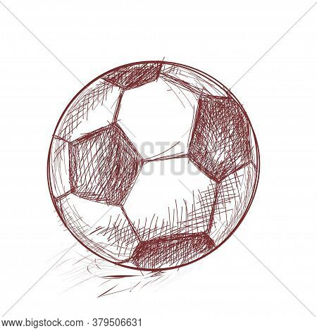 Football. Sports Paraphernalia. Hand Drawing With Strokes. Sketch. Vector. Design Drawn With Brown P