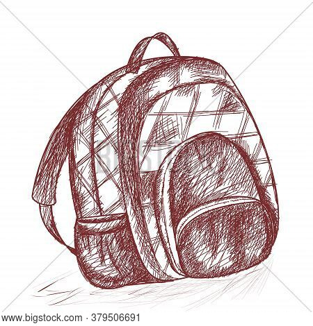 School Bag. Supplies For School Children And Students. One-color Vector Illustration In The Style Of