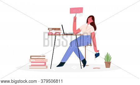 Emotional Burnout Woman, Tired Of The Huge Amount Of Work, Sitting At Her Working Place With Laptop