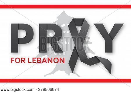 Pray For Lebanon Background With Black Ribbon And Cedar