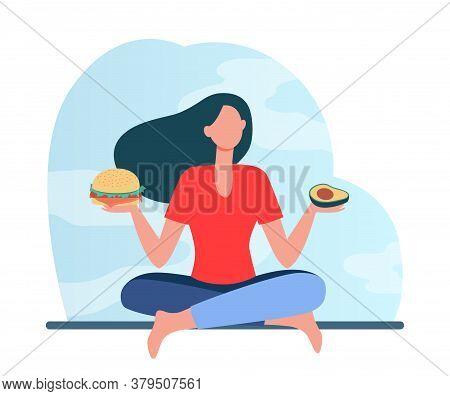 Healthy And Junk Food Choice. Woman Choosing Between Burger And Avocado Flat Vector Illustration. He