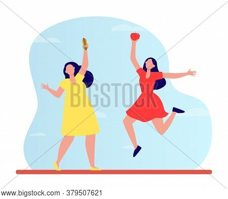Healthy Vs Junk Food. Fat And Slim Women Holding Hot Dog And Apple Flat Vector Illustration. Healthy