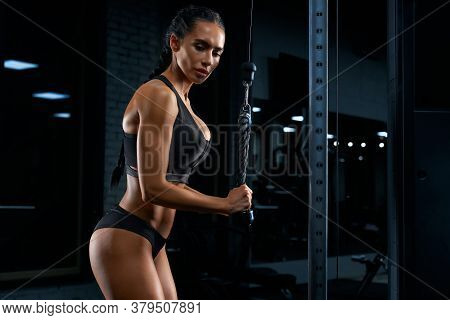 Side View Of Woman In Sportswear With Long Braids And Perfect Buttocks Training Triceps. Attractive