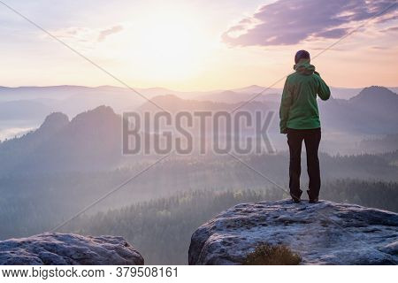 Woman Successful Hiking Or Climbing In Mountains, Motivation And Inspiration In Beautiful Sunset Lan