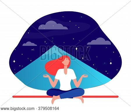 Woman Doing Yoga At Night. Meditating Girl Sitting In Lotus Pose At Mountain Peak Flat Vector Illust