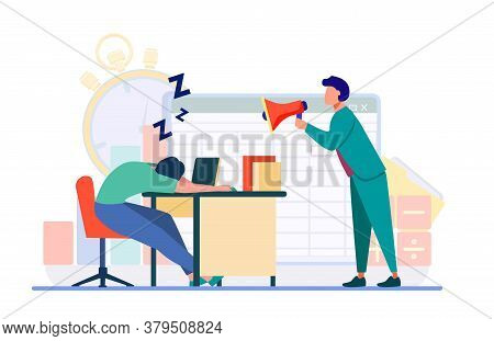 Manager With Megaphone Shouting At Sleepy Employee. Tired Office Worker, Angry Boss Flat Vector Illu