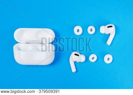 Rostov, Russia - July 06, 2020: Comfortable Charging Wireless Headphones Apple Airpods Pro, Open Cas