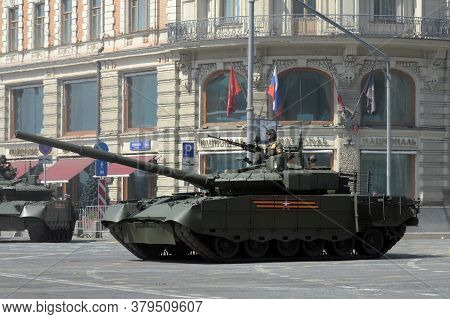 Moscow, Russia - June 20, 2020:t-80bv M Tanks On Tverskaya Street In Moscow During The Dress Rehears