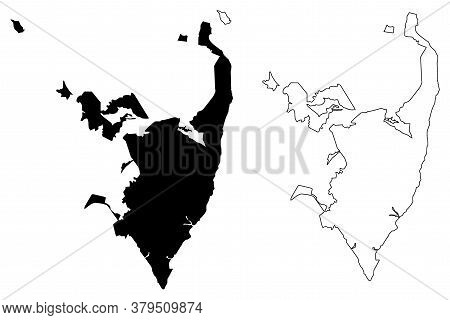 Serra City (federative Republic Of Brazil, Espirito Santo State) Map Vector Illustration, Scribble S