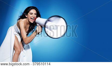 Young beauty brunette wearing white dress