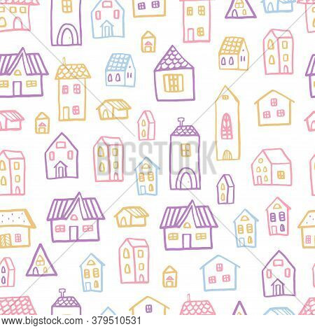 Vector Seamless Pattern With Houses In Doodle Style. Stylish Background For A Nursery.