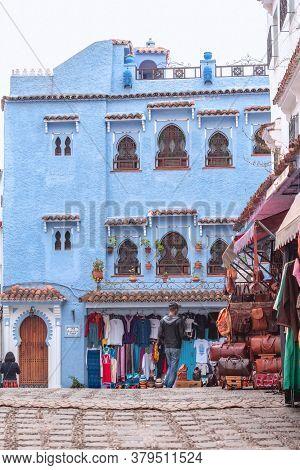Chefchaouen, Morocco - October 26, 2018: View Of Casa Bellavista Chaouen In Chefchaouen Medina, Moro