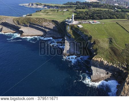 Aerial View Of Faro Cabo Mayor Lighthouse In Santander City, Cantabria Region Of Spain