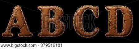 Set of leather letters A, B, C, D uppercase. 3D render font with skin texture isolated on black background. 3d rendering