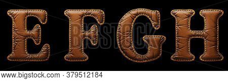 Set of leather letters E, F, G, H uppercase. 3D render font with skin texture isolated on black background. 3d rendering