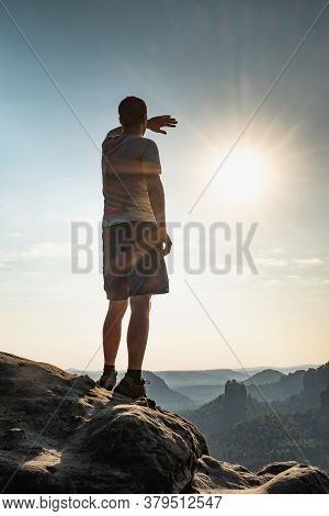 Traveler Man Climbing In  Mountain, Traveling Lifestyle Adventure Concept Hiking Active Summer Vacat