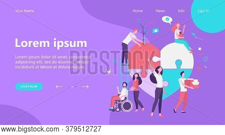 Stylized Volunteers Help Charity And Sharing Hope Isolated Flat Vector Illustration. Cartoon Abstrac