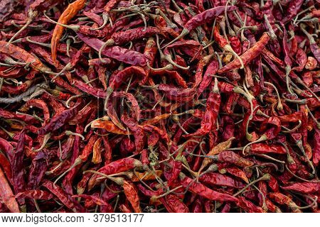 Hot Dried Red Chillies Peppers. Traditional Mexican Cuisine. Healthy Vegan Food