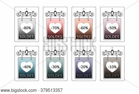 Set Of Price Tags. Sale Labels. Panel Shaped. Colorful Label And Original. Text In French. Vector Il