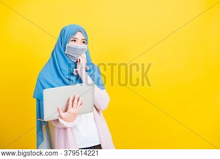 Asian Muslim Arab, Portrait Of Happy Beautiful Young Woman Islam Religious Wear Veil Hijab And Face