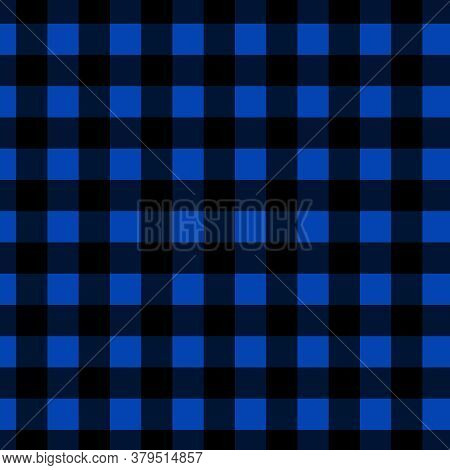 Black And Blue Buffalo Check Pattern In 12x12 Checkered For Design Elements And Backgrounds.