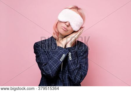 Caucasian Woman Wearing Sleep Mask Trying To Have A Rest In A Break