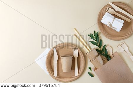 Plastic Free And Zero Waste Concept. Disposable Paper Tableware (cups, Plates, Wooden Forks, Knives,