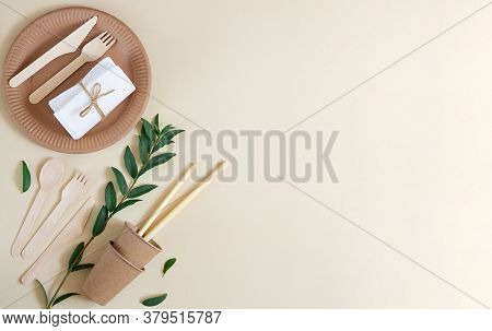 Eco-friendly, Kraft, Disposable, Recyclable Tableware Top View With Copy Space
