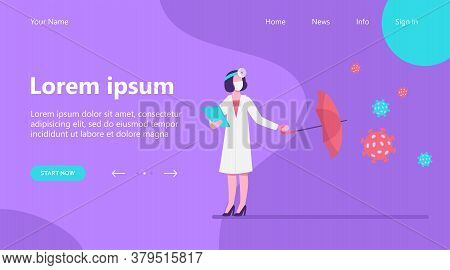 Nurse Protecting From Viruses Attack. Physician, Umbrella, Prescription Flat Vector Illustration. Me