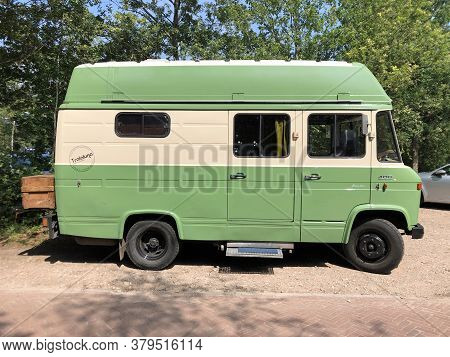 Borger, The Netherlands - August 1, 2020: Mercedes-benz 408 Classic Camperbus Parked By The Side Of