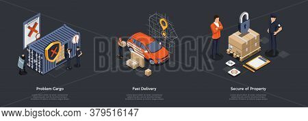 Organization Of Fast And Safety Delivery Of Goods. People Solve Problems With Cargo Delivery At Cust