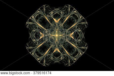 Fantastic Abstract Symmetrical Flower With Petals Consisting Of A Variety Of Geometric Shapes Of Dif