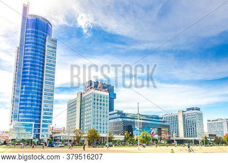 Minsk, Belarus, July 26, 2020: Cityscape Of Minsk City With Skyscrapers On Pobediteley Peramohi Aven