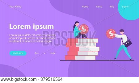 Man Giving Money To Woman. Salary, Family Budget, Banker Flat Vector Illustration. Investment, Savin