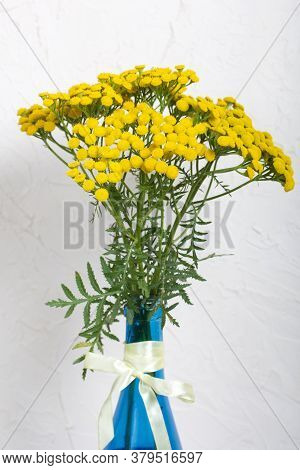 A Bouquet Of Tansy In A Blue Bottle. The Bottle Is Tied With A Ribbon Tied To A Bank. On A White Bac