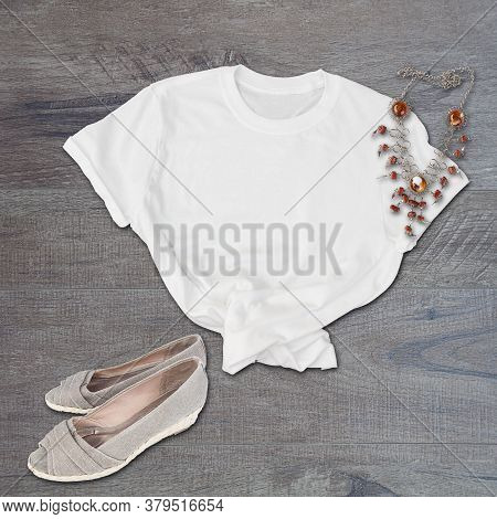 White Tshirt Mockup Casual Fashion Still Life On A Wood Floor With Neutral Canvas Heels And A Cool N