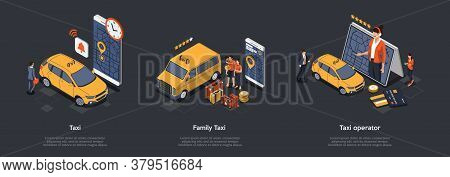 Concept Of Taxi Operator. People Man And Woman Book Taxi Using Mobile Application On Gadgets. Five S