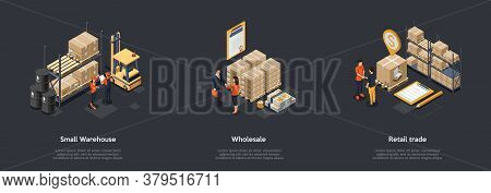 Concept Of Warehouse And Retail Trade. Business People Sign Contracts For Storage And Wholesale. Ret