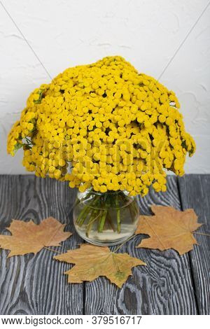 A Bouquet Of Tansy In A Glass Goblet. Nearby Are Dried Maple Leaves. On A White Background.