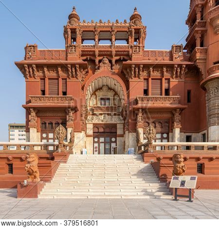 Cairo, Egypt- July 30 2020: Front Facade Of Baron Empain Palace, A Historic Mansion Inspired By The