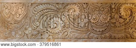 Marble Hindu Style Floral Patterns Carved Into The Exterior Wall Of Baron Empain Palace, Heliopolis