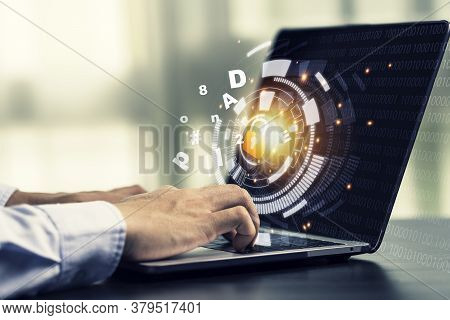 Hand Using Computer Laptop By Input Password To Login And Access To Computer System. Security In Tec