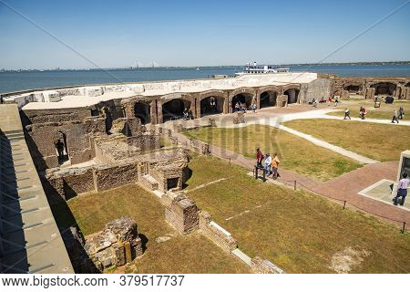 Charleston Sc - March 29, 2019: View Of Fort Sumter Full Of Tourist, National Monument In Charleston