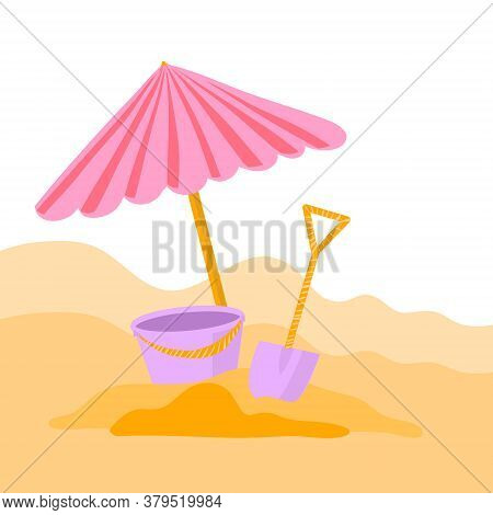 Vector Illustration Of A Children S Scoop, Sand And A Baby Bucket In The Style Of Flat Cartoon. Beac