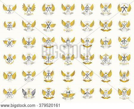 Vintage Weapon Vector Logos Or Emblems, Heraldic Design Elements Big Set, Classic Style Heraldry Mil
