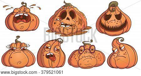 Halloween Pumpkins Jack Set. 7 Pumpkins Illustration For Your Business Project. Pumpkin Vector Illus