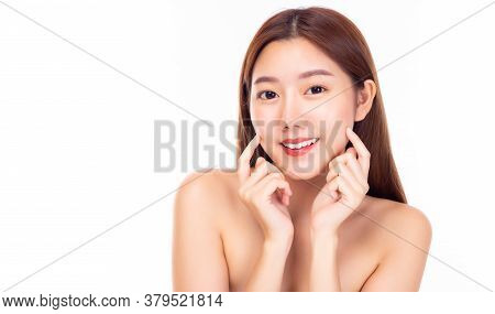 Happy Beautiful Asian Woman Touching Her Beauty Cheeks With Smile Face. Attractive Young Lady Has Pe